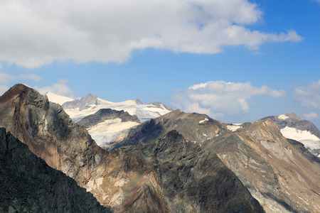 hohe tauern: Panorama view with mountain Grossvenediger and glaciers in Hohe Tauern Alps, Austria Stock Photo