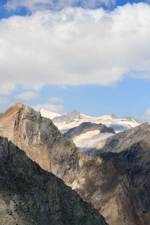 glaciers: Panorama view with mountain Grossvenediger and glaciers in Hohe Tauern Alps, Austria Stock Photo