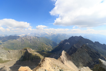 hohe tauern: Panorama view with mountain Grossglockner and glaciers in Hohe Tauern Alps, Austria