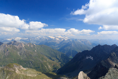 grossglockner: Panorama view with mountain Grossglockner and glaciers in Hohe Tauern Alps, Austria
