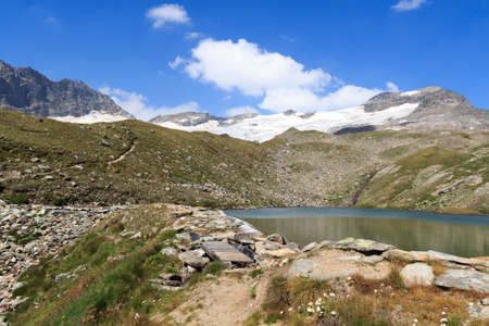 tauern: Footpath, lake and glacier panorama with mountain Kristallwand in Hohe Tauern Alps, Austria