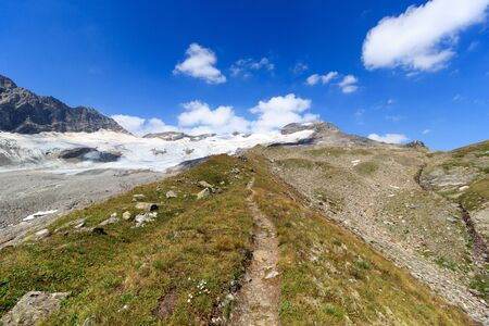 hohe tauern: Footpath and glacier panorama with mountain Kristallwand in Hohe Tauern Alps, Austria