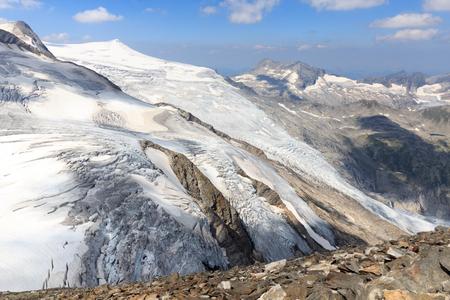 crack climbing: Mountain glacier panorama view with summit Kleinvenediger in Hohe Tauern Alps, Austria