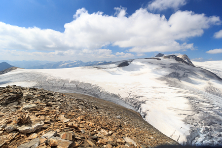 crack climbing: Mountain glacier panorama view with summit Grossvenediger in Hohe Tauern Alps, Austria Stock Photo
