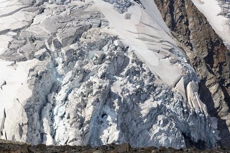 crack climbing: Glacier with crevasses at Grossvenediger in Hohe Tauern Alps, Austria