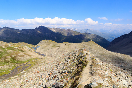 tauern: Mountain panorama view with footpath in Hohe Tauern Alps, Austria