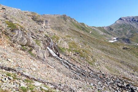 hohe tauern: Mountain panorama with col Lobbentorl in Hohe Tauern Alps, Austria Stock Photo