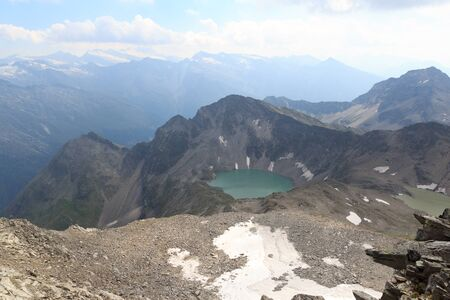 hohe tauern: Mountain panorama and lake Wildensee in Hohe Tauern Alps, Austria