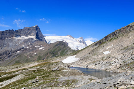 hohe tauern: Mountain glacier panorama view with lake, summit Grossvenediger and Kristallwand in Hohe Tauern Alps, Austria