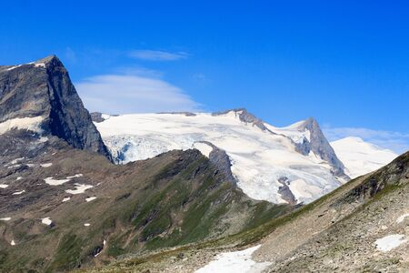 crack climbing: Mountain glacier panorama with summit Grossvenediger and Kristallwand in Hohe Tauern Alps, Austria