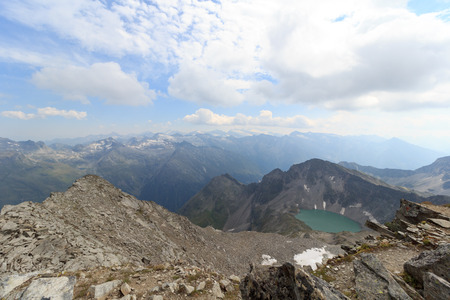 tauern: Mountain panorama and lake Wildensee in Hohe Tauern Alps, Austria