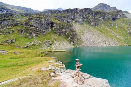 tauern: Lake Lobbensee and mountain Wildenkogel in Hohe Tauern Alps, Austria