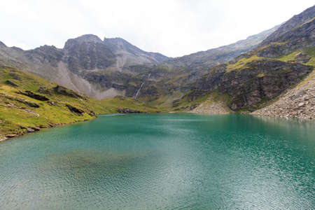 tauern: Mountain panorama and lake Lobbensee in Hohe Tauern Alps, Austria Stock Photo