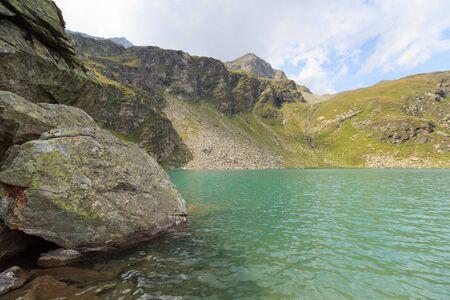 hohe tauern: Lake Lobbensee and mountain Wildenkogel in Hohe Tauern Alps, Austria