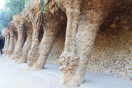 colonnaded: Colonnaded footpath in Park Guell in Barcelona, Spain