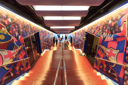 Football stadium Camp Nou players tunnel in Barcelona Editorial