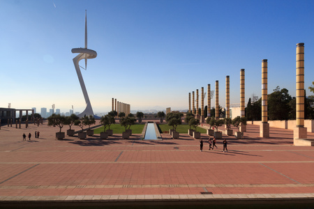 montjuic: Barcelona olympic park (Anella Olimpica) and Montjuic Communications Tower