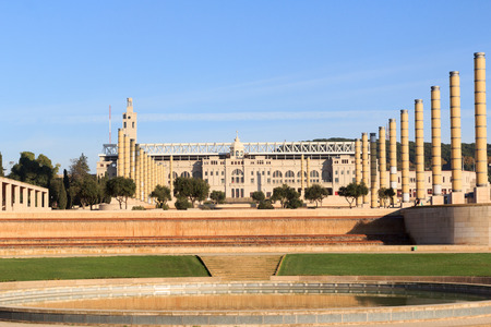 olympic stadium: Barcelona Olympic Stadium, olympic park and Placa d Europa