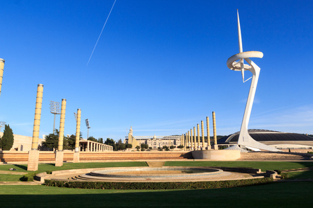 europa: Barcelona Olympic Stadium, olympic park, Placa d Europa and Montjuic Communications Tower