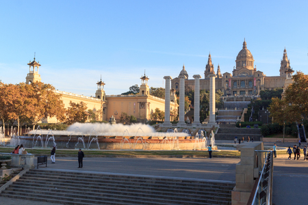 nacional: Palau Nacional (National art museum of Catalonia), Four columns and Magic fountain in Barcelona