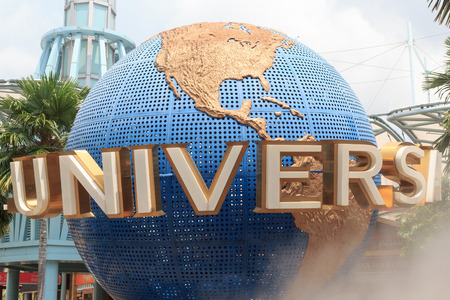 Universal globe at Universal Studios Singapore on island resort Sentosa Stock fotó