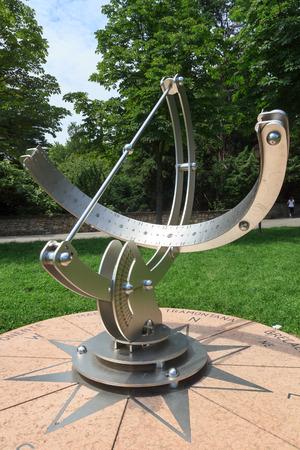 sundial: Sundial in upper city Citta Alta in Bergamo, Italy Stock Photo