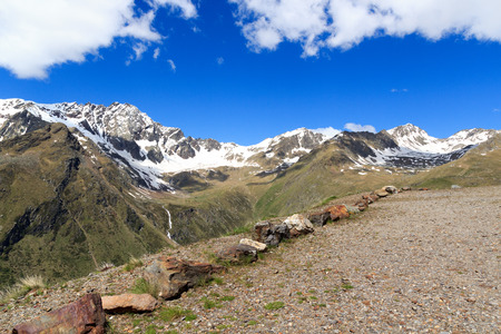 Panorama view alpine mountains seen from gavia pass in Stelvio National Park, Italy Stock Photo