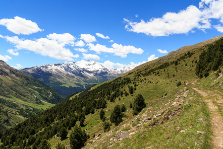 hiking path: Mountain Monte Sobretta and hiking path in Ortler Alps, Italy