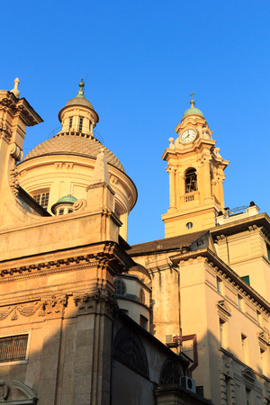 chiesa: Dome and belfry of Church Chiesa del Gesu in Genoa, Italy