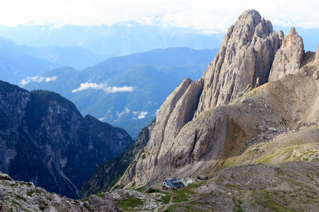 Sexten Dolomites Mountain panorama and alpine hut Rifugio Carducci in South Tyrol, Italy Stock Photo
