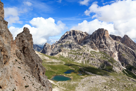 Sexten Dolomites panorama and mountain Dreischusterspitze in South Tyrol, Italy Stock Photo