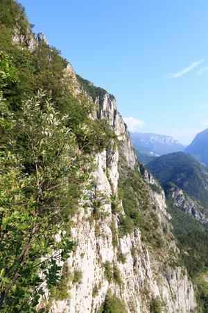 Mountain face with via ferrata Amicizia near Riva del Garda, Italy