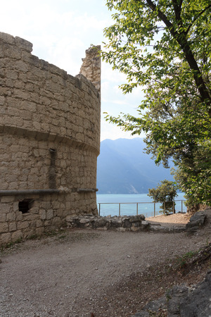 Bastione Riva del Garda fortification and Lake Garda in Italy
