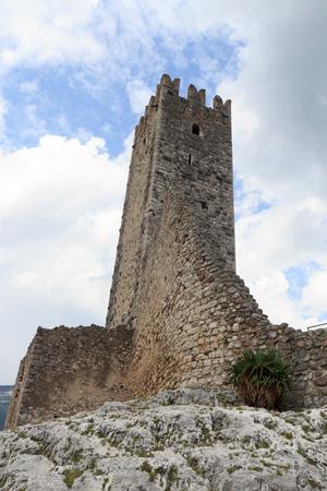 Tower of Castle ruin Castel Drena in Trentino, Italy Stock Photo