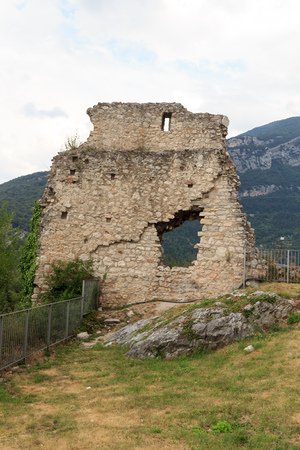The ruins of Penede castle in Nago-Torbole, Italy Stock Photo