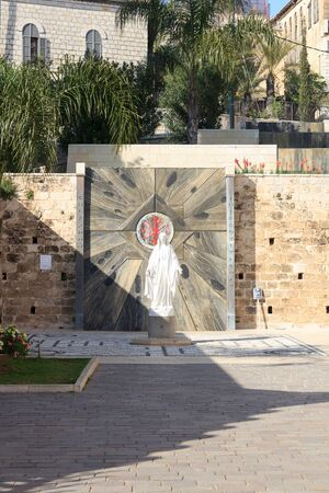 Statue of the Virgin Mary in the Garden of the Basilica of the Annunciation in Nazareth, Israel