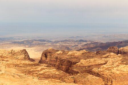 Arabah valley desert panorama with mountains in Jordan