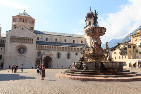 Church Trento Cathedral and Fountain of Neptune, Italy
