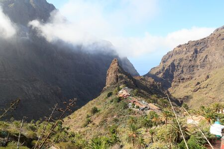 Village Masca and Masca Gorge panorama with Atlantic Ocean on Canary Island Tenerife, Spain