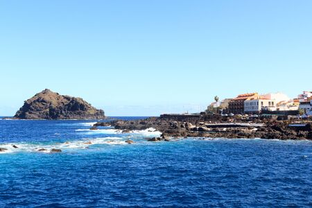 Coastline and town Garachico panorama with Atlantic Ocean on Canary Island Tenerife, Spain 版權商用圖片