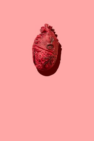 Red anatomical rubber heart with graphic shadow on a pink background - vertical