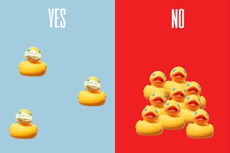 Social distancing concept: how to behave during virus pandemic yellow ducks far from each other wering facial masks and what no to do duck all together without protection