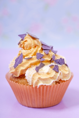 orange  pink cupcake  party snack closeup Stock Photo