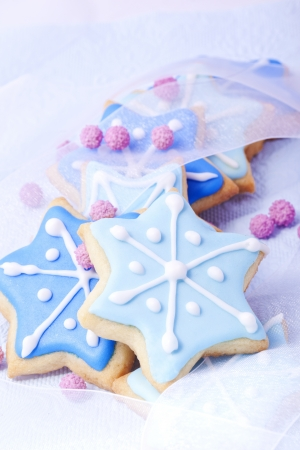 Christmas cookies, Christmas biscuits, Christmas baking, bakery, blue stars, Stock Photo - 14319076