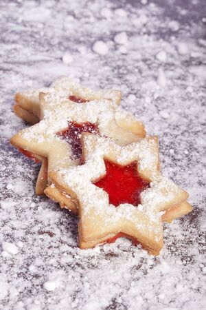 Jelly cookies star with red jam homemade Stock Photo - 14319092