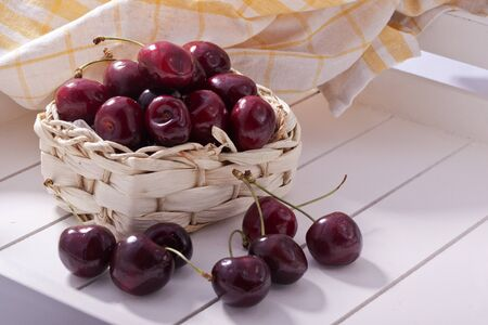sweet and sour red fresh summer cherries