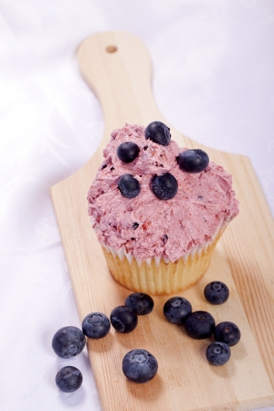 sweet fresh homemade blueberry cupcakes summer dessert photo