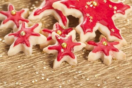 biscotti di natale: Biscotti di Natale e biscotti stelle d'oro e rosso