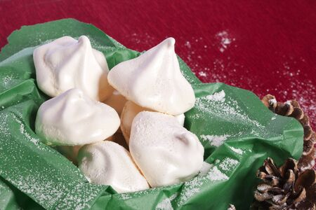 soft white meringue candy and  confectionery for christmas dessert