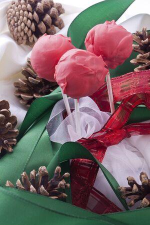 red cake pops  sweet dessert for christmas